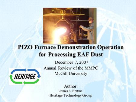 دانلود پاورپوینت PIZO Furnace Demonstration Operation for Processing EAF Dust